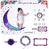 Baby Monthly Milestone Blanket  Premium Floral Wreath Month Marker & Cute Headband   Extra Soft Fleece Baby Photo Blankets for Newborn 1-12 Months for Girl and Boy