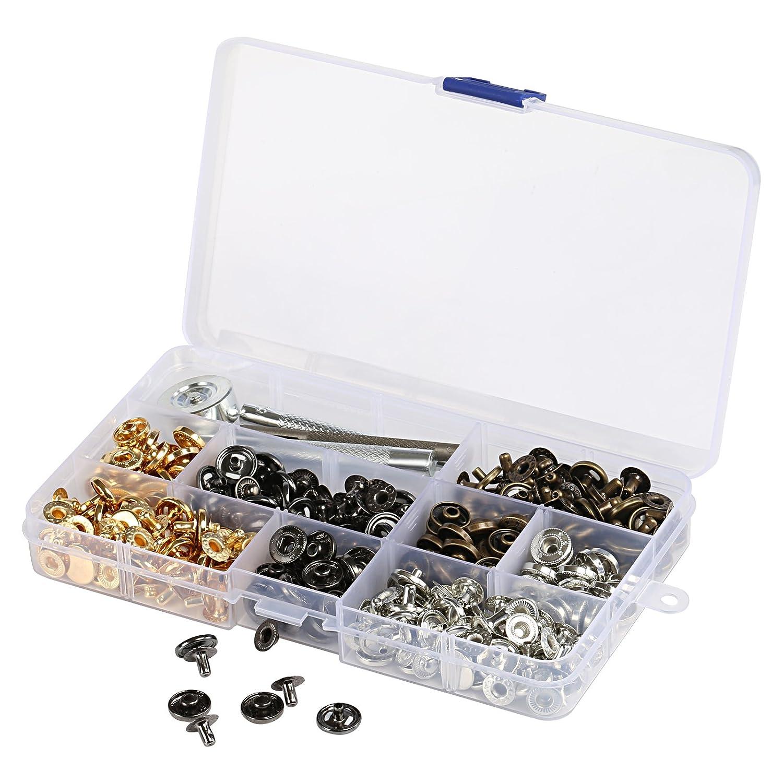 Naler 100 Bottoni Automatici a Pressione Bottoni di Abbigliamenti Bottone con Kit di Attrezzi di Fissaggio per Giacche Artigianali in pelle