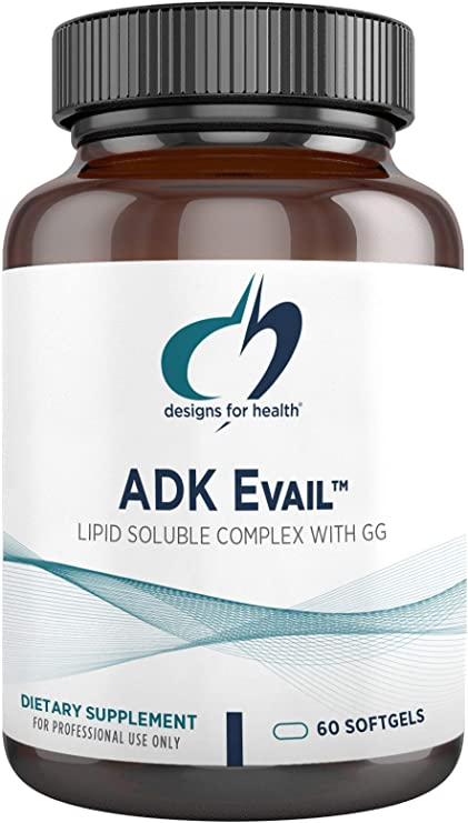 Designs for Health ADK Evail - 5000 IU Vitamin D Supplement with Vitamins A, E (Gamma Delta Tocotrienols), K (K1 + K2) - Fat Soluble Vitamin D Complex - Bone + Immune Support (60 Softgels)