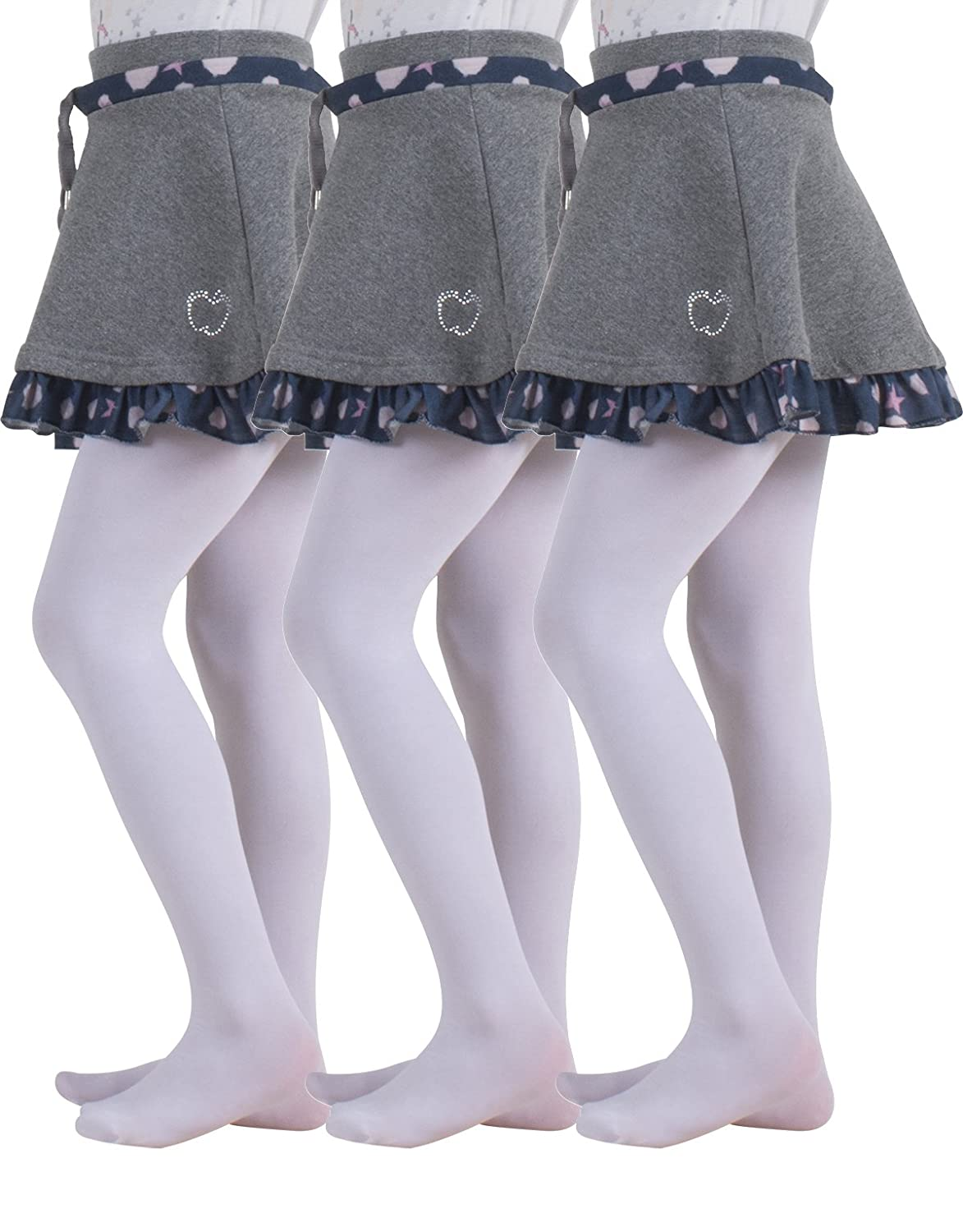 3 PAIRS GIRL MICROFIBER TIGHTS | STRETCHY KIDS TIGHTS FOR SCHOOL | SOFT PANTYHOSE UNIFORM | 40 DEN | 2-14 YEARS | WHITE, BLACK | MADE IN ITALY 08213X3