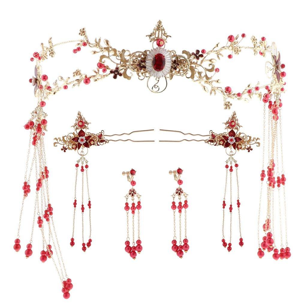 Fenteer Rétro Cheveux Couronne Diadème de Phénix avec Boucles d'oreilles Épingles pour Costume Antique de Mariage