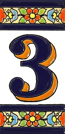 """Image ofNúmeros casa. Letreros con numeros y letras en azulejo de ceramica policromada, pintados a mano en técnica cuerda seca para placas con nombres, direcciones y señaléctica. Texto personalizable. Diseño FLORES MEDIANO 10,9 cm x 5,4 cm. (NUMERO TRES """"3"""")"""