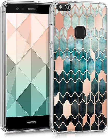 kwmobile Cover Compatibile con Huawei P10 Lite - Back Case Custodia in Silicone TPU Trasparente Geometric Art Blu/Oro Rosa