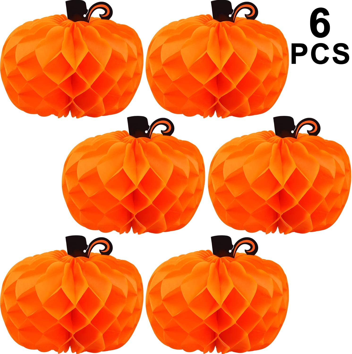 WILLBOND 6 Pieces Halloween Decor 3D Paper Pumpkin Honeycomb Decorations with Punch for Halloween Thanksgiving Party Table Centerpieces Decoration (Black Branch)