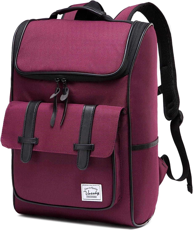 Backpack for Women,Vaschy Vintage Water Resistant Daypack Rucksack College School Backpack Burgundy