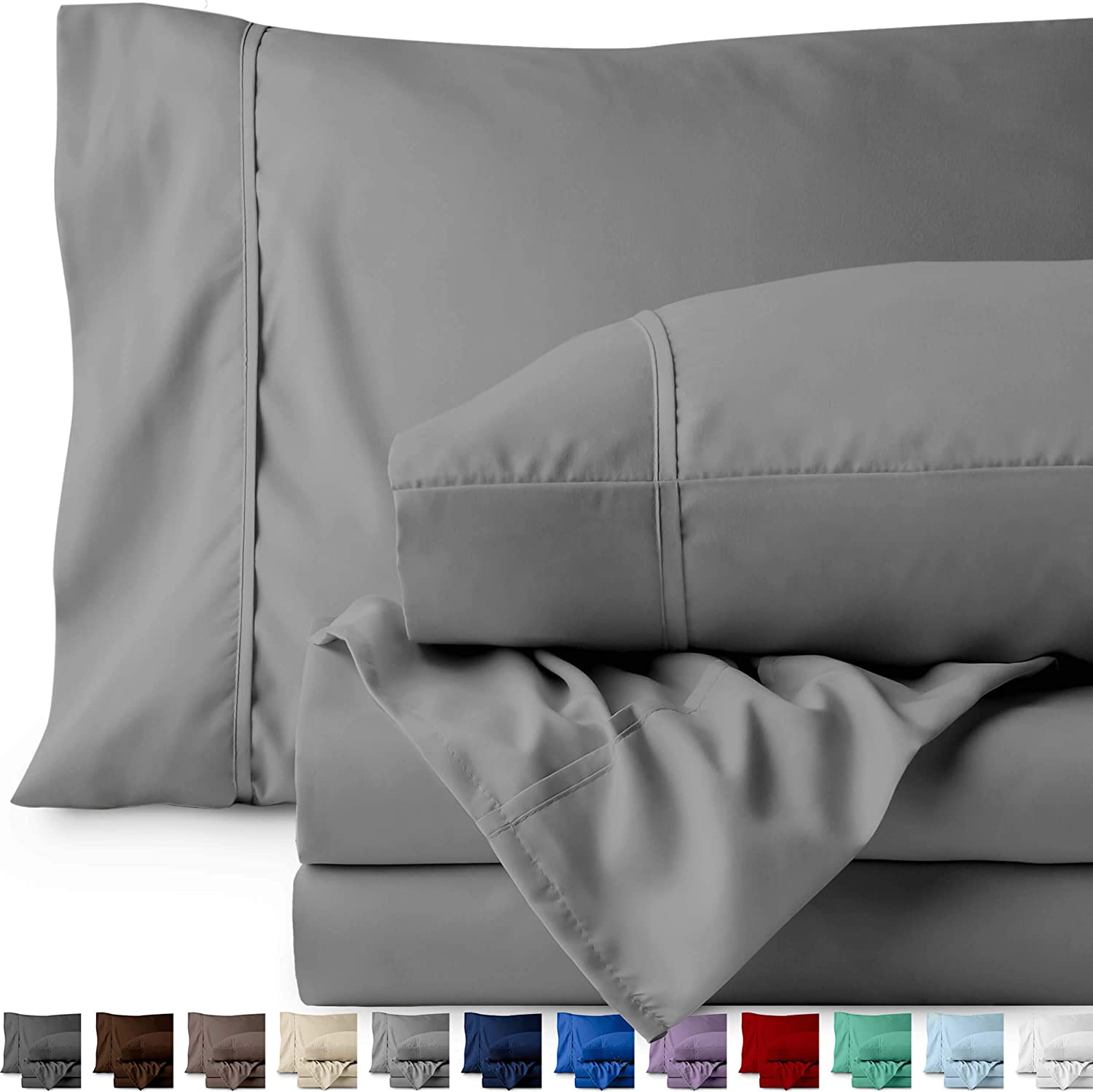 Bare Home King Sheet Set - 1800 Ultra-Soft Microfiber Bed Sheets - Double Brushed Breathable Bedding - Hypoallergenic – Wrinkle Resistant - Deep Pocket (King, Light Grey)