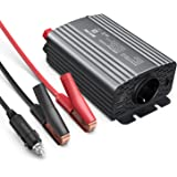 BESTEK Inversor de Corriente 12V a 220V Inversor Onda Modificada 500W para Coche con 2 USB Puertos y 1 Toma de AC - 1 Toma de Encendedor Mechero de Coche y 2 Clips de Cocodrilo(Gris)