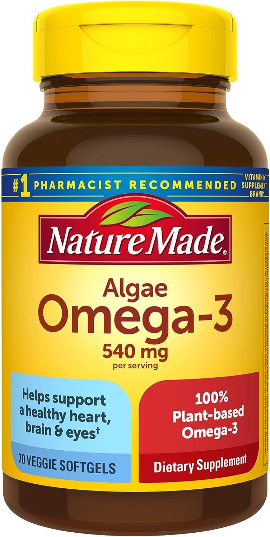 Nature Made Algae 540 Mg Omega 3 Supplement, 70 Vegetarian Softgels, 70 Count