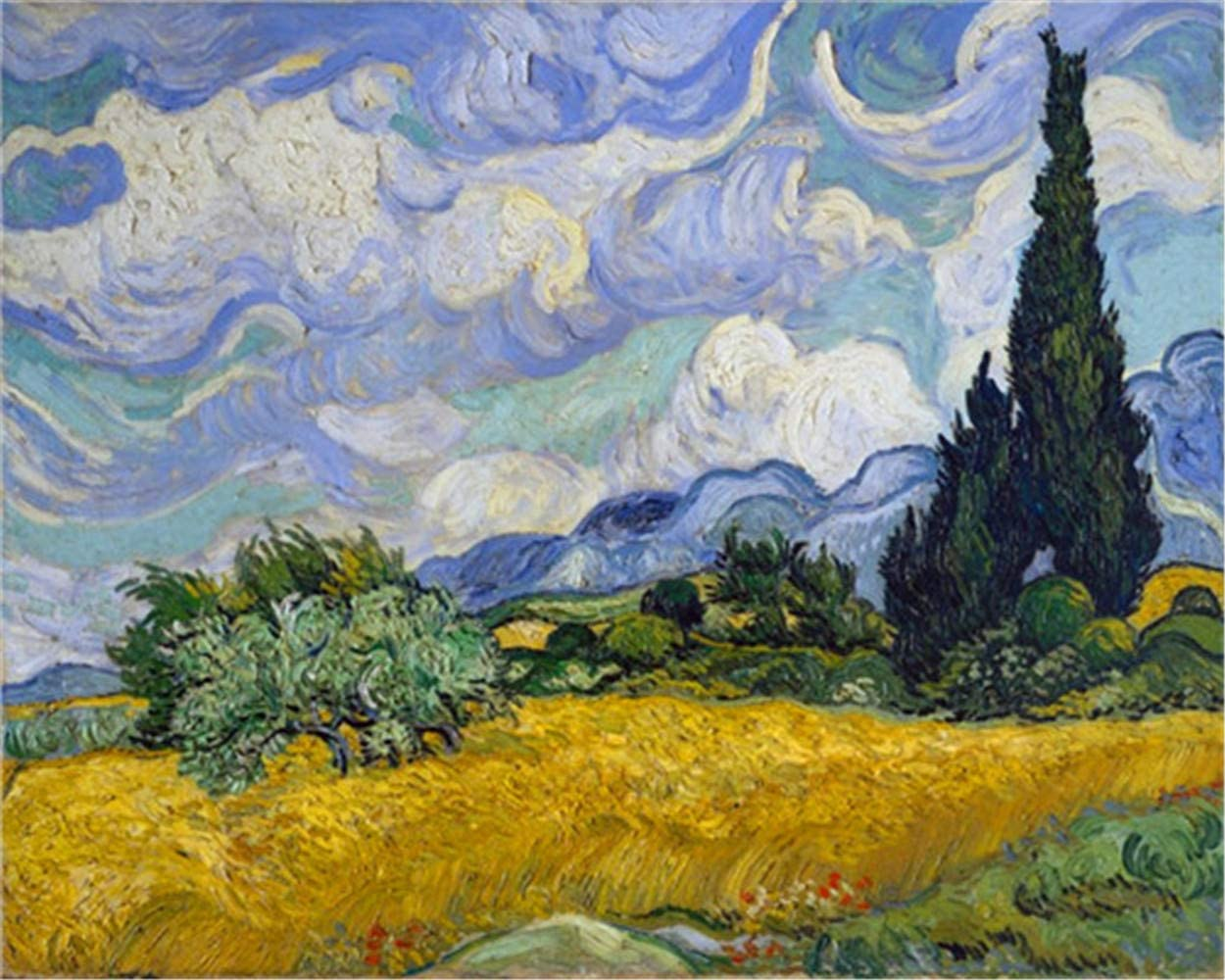 YEESAM ART Paint by Numbers for Adults Kids, Wheat Field with Cypress by Van Gogh 16x20 Inch Linen Canvas Acrylic DIY Number Painting Kits Wall Art Decor Gifts (Without Frame)
