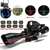 AR15 Tactical Rifle Scope Combo C4-12x50 with R&G Laser and 4 Holographic Red&Green Dot Sight for 22&11mm Weaver/Picatinny Rail Mount