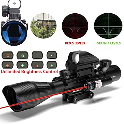 Aipa AR15 Rifle Scope 4-12x50EG Dual illuminated Optics with Holographic 4 Reticle Red and Green Dot Sight