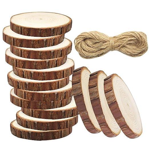 meetory 20 pcs Unfinished Predrilled rodajas de madera natural redondo no Log discos con agujeros, 33 pies yute Twine para DIY Craft rústico boda decoración ...