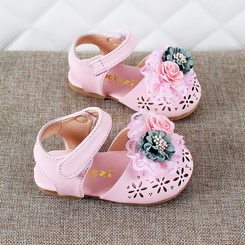 Jarsh Baby Girl Shoes Toddler Lace Flower Hollow Princess Soft Sole Sandals