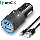 Car Charger,Czznn QC 2.0 2.4A Dual USB Car Adaptor iSmart Charging with 3Ft Micro USB Cable for Samsung Galaxy Note 5/4, S Series & Edge Models; LG G4 / G5; Google Nexus 5X 6P and Android Devices