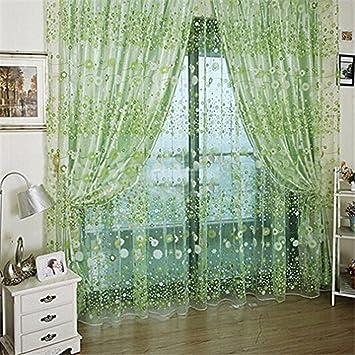 Amazon De Hengsong Vorhange Fresh Druck Flower Tur Fenster Vorhang