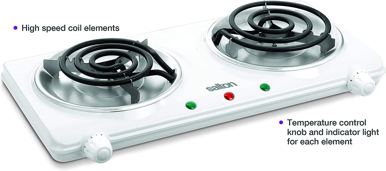 Amazon Com Salton Double Coil Portable Electric Cooktop 1 63 Lb White Electric Countertop Burners Kitchen Dining