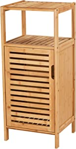 VIAGDO Bathroom Floor Cabinet, Wooden Storage Organizer Unit with Single Door and Shelf, Free Standing Kitchen Cupboard, Console Sofa Side Table for Living Room/Hallway/Bedroom/Kitchen