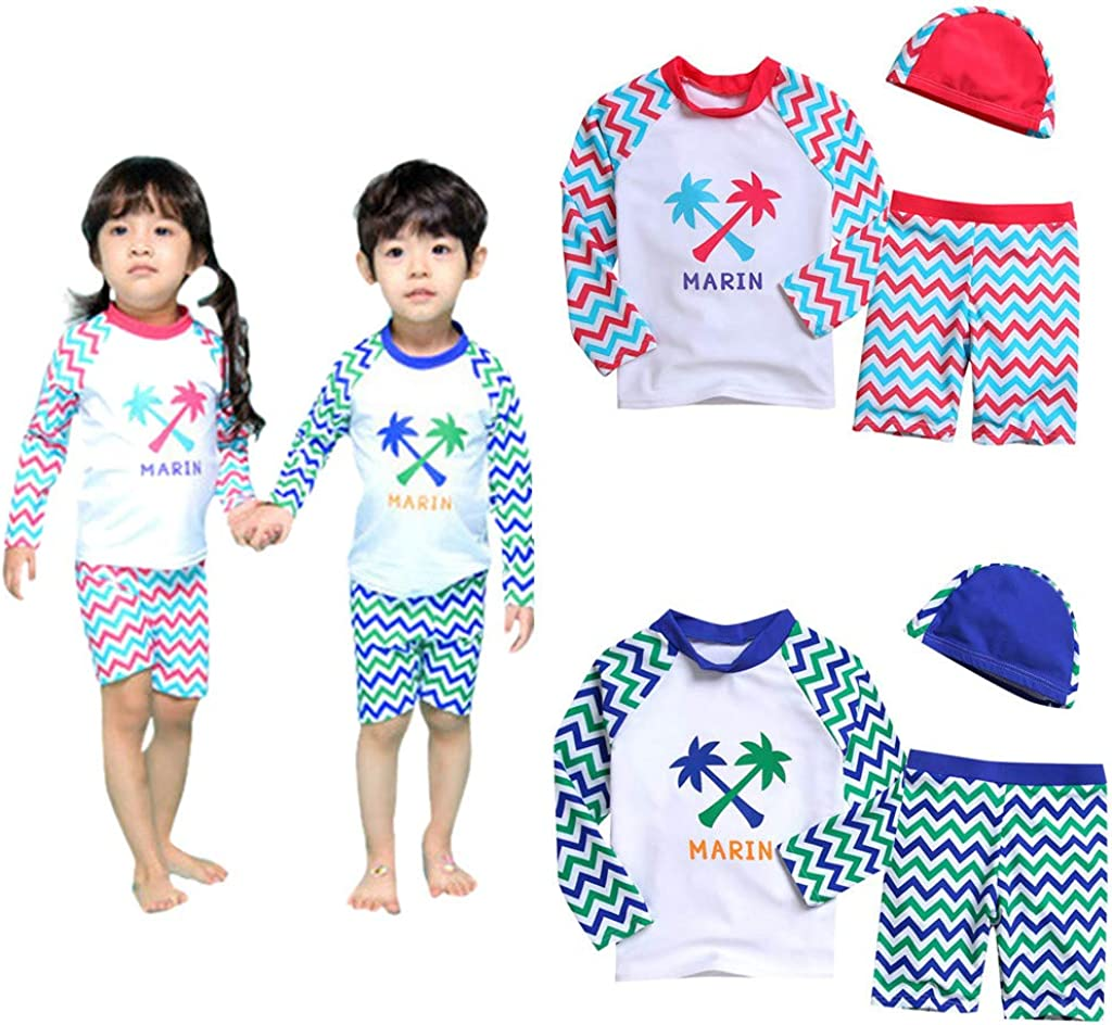 LiLiMeng Kid Baby Girl Boy Long Sleeve Letter Beach Swimwear Cap Bathing Set Clothes