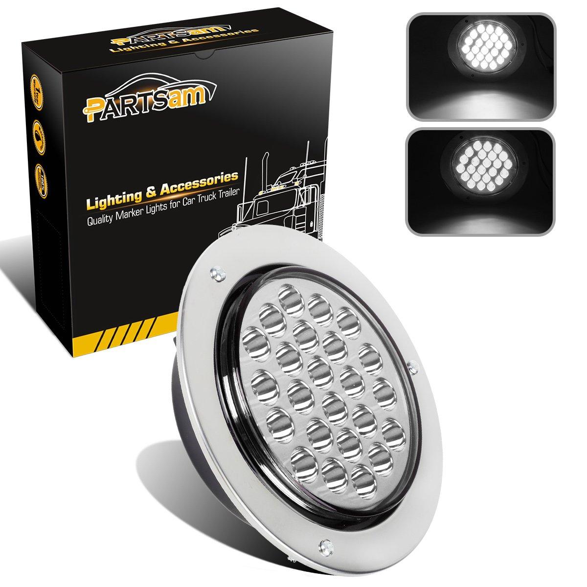 "Amazon.com: Partsam 1pc 4"" Round 24 LED White Reverse Stop Turn Tail Backup  Light Waterproof w/ Chrome Ring: Automotive"