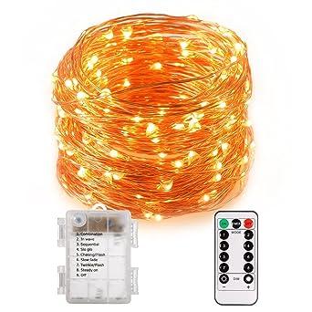 67529f6d080 Cadena con 100 luces led resistentes al agua con cable de cobre y mando a  distancia