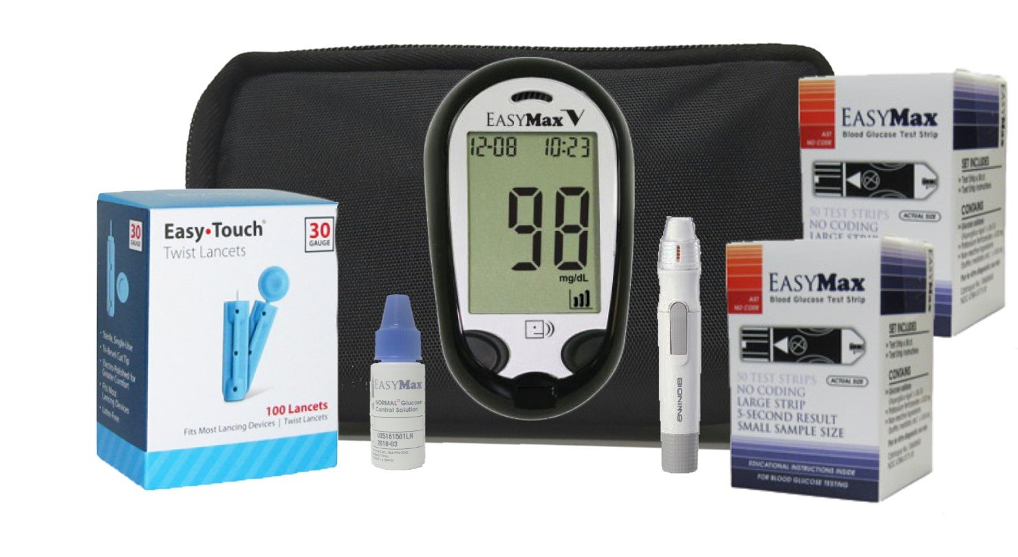 EasyMax Diabetes Testing Kit- EasyMax V Talking Meter, 100 EasyMax Test Strips, 100 30g EasyTouch Lancets, 1 Lancing Device and EasyMax Control Solution