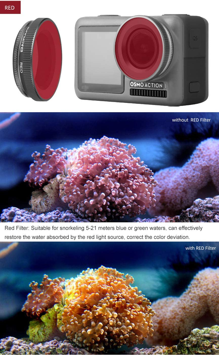 CZFRIEND OSMO Action Camera Lens Filter Set Accessories Lens Adjustable Protection Diving Flters