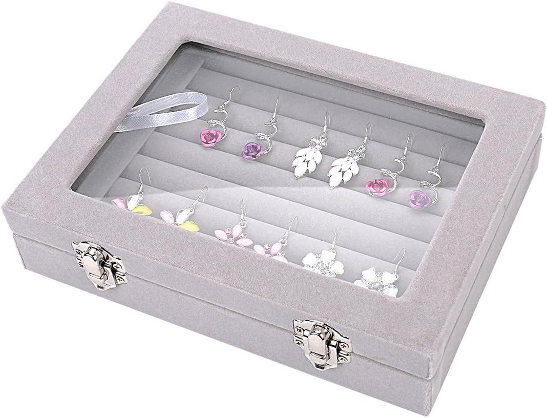 pr/ésentoir organisateur pour colliers bracelets coffret /à bague Ivos Bo/îte /à bijoux en verre de velours pour boucles doreilles bagues bleu