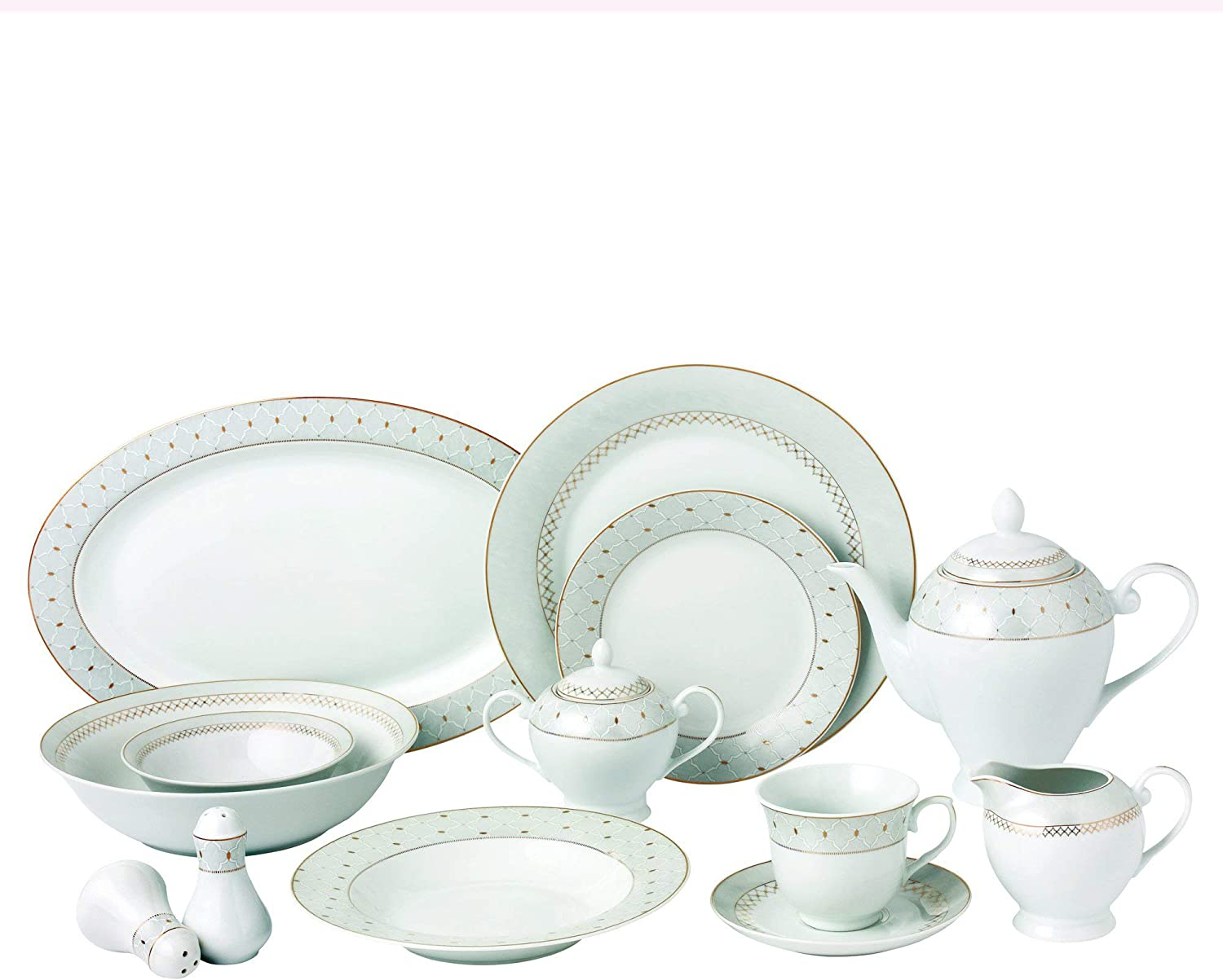 Lorren Home Trends Carlotta-57 57 Piece Silver Border Porcelain Dinnerware Set-Service for 8-Carlotta-Mix and Match, One Size, White