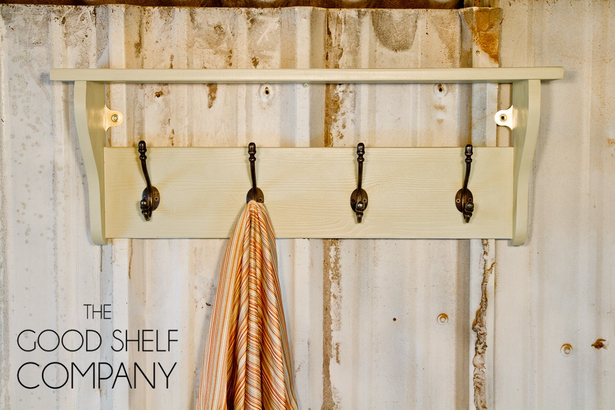 Pine Coat Rack with Shelf (42