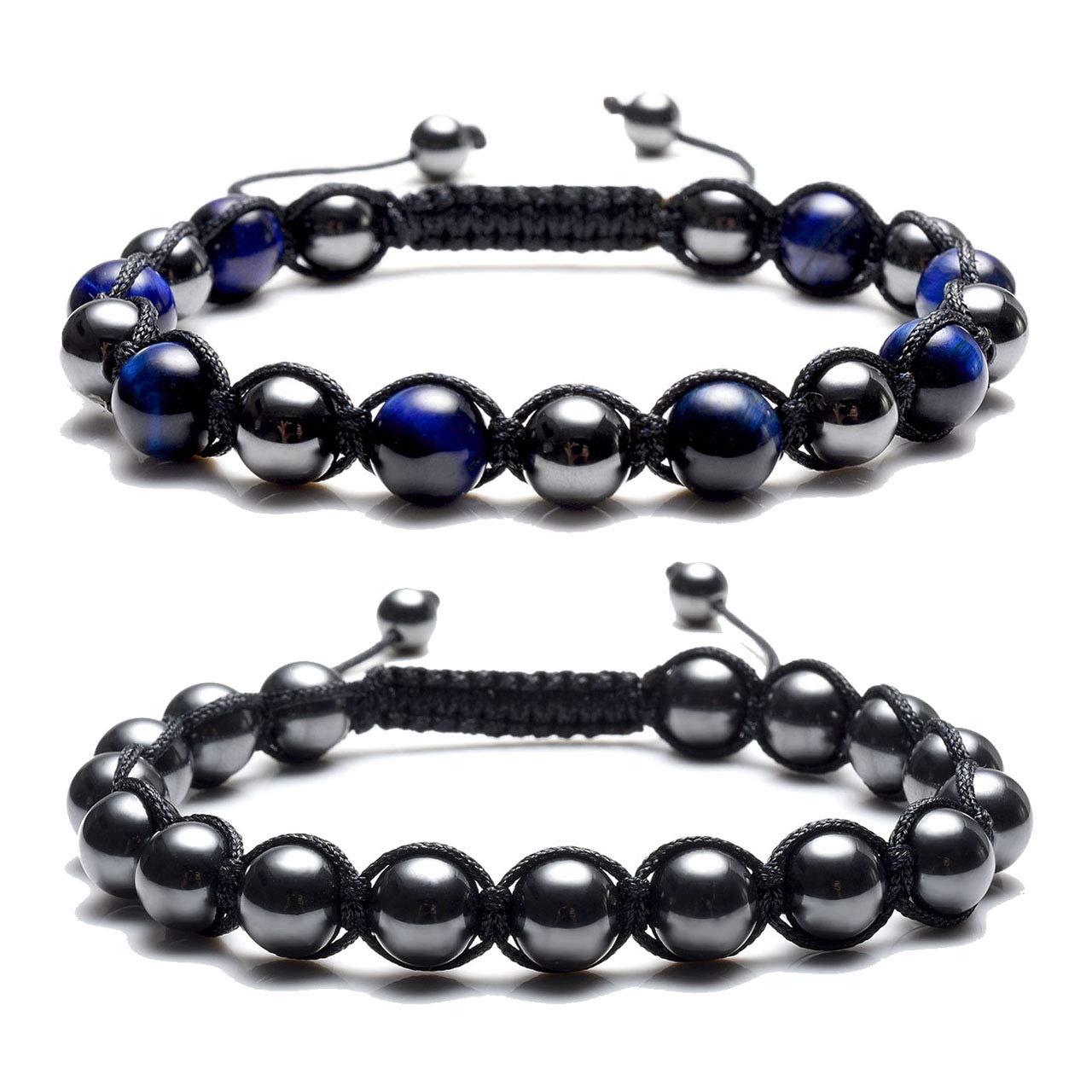 Top Plaza Men Women Reiki Healing Energy Natural Tiger Eye Stone Magnetic Hematite Therapy Beads Macrame Adjustable Braided Link Bracelet ATPUS66705