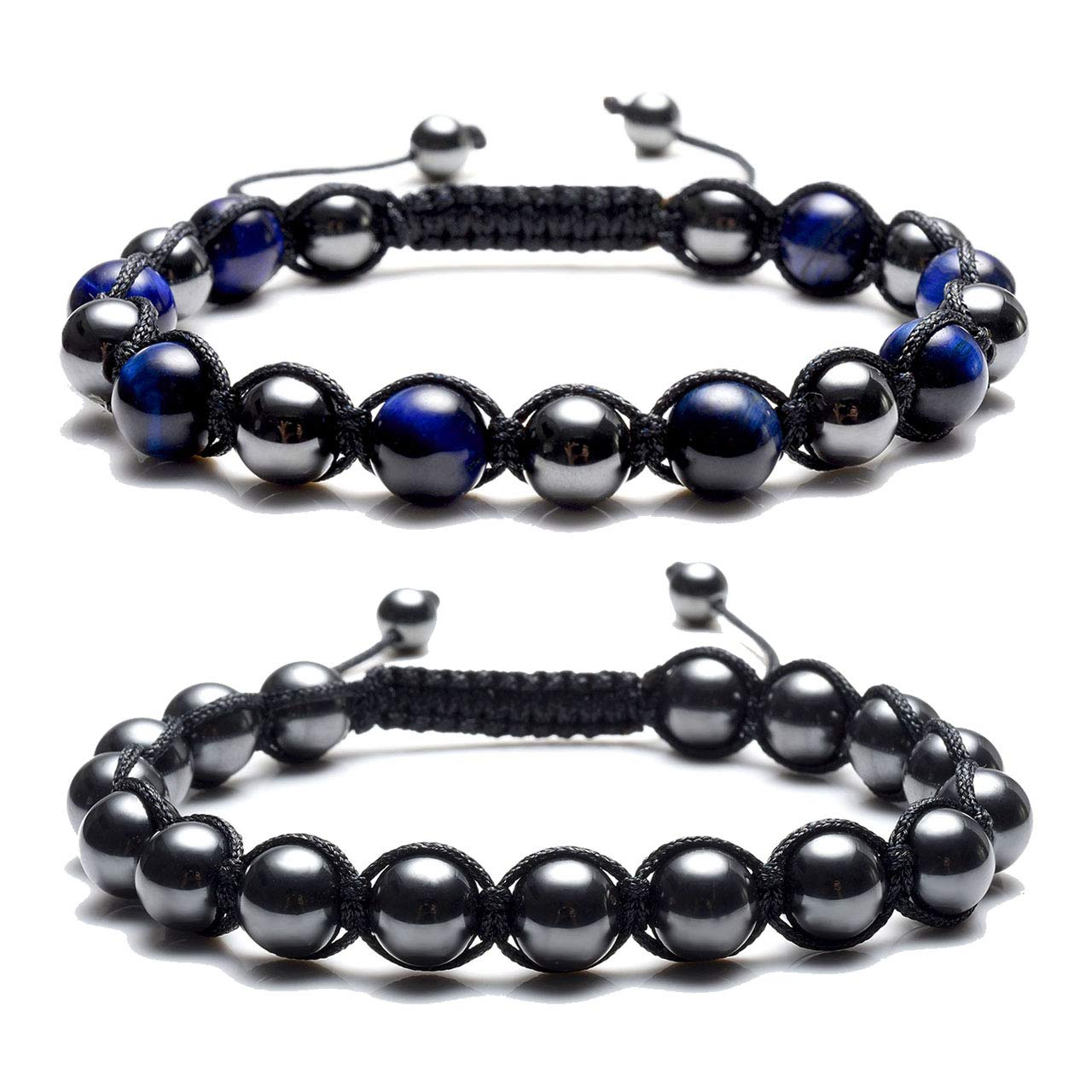 Top Plaza Men's Women's Reiki Healing Energy Natural Tiger Eye Stone Magnetic Hematite Therapy Beads Macrame Adjustable Braided Link Bracelet(Blue Tiger Eye + Magnetic Hematite Beads)