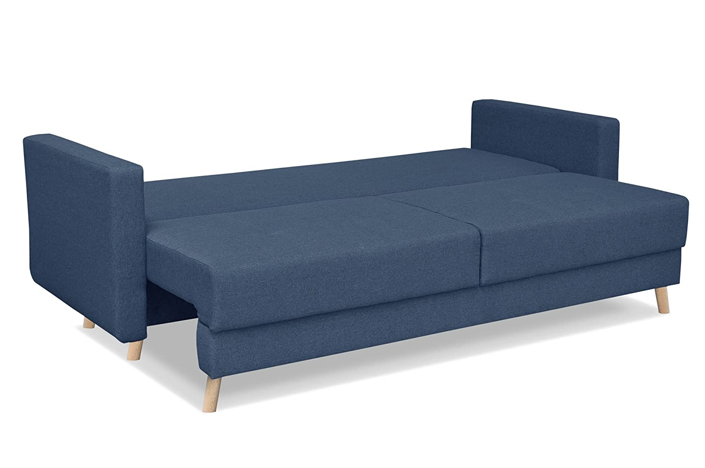 Sofá escandinavo de 3 plazas, tela azul, sofá-cama ...
