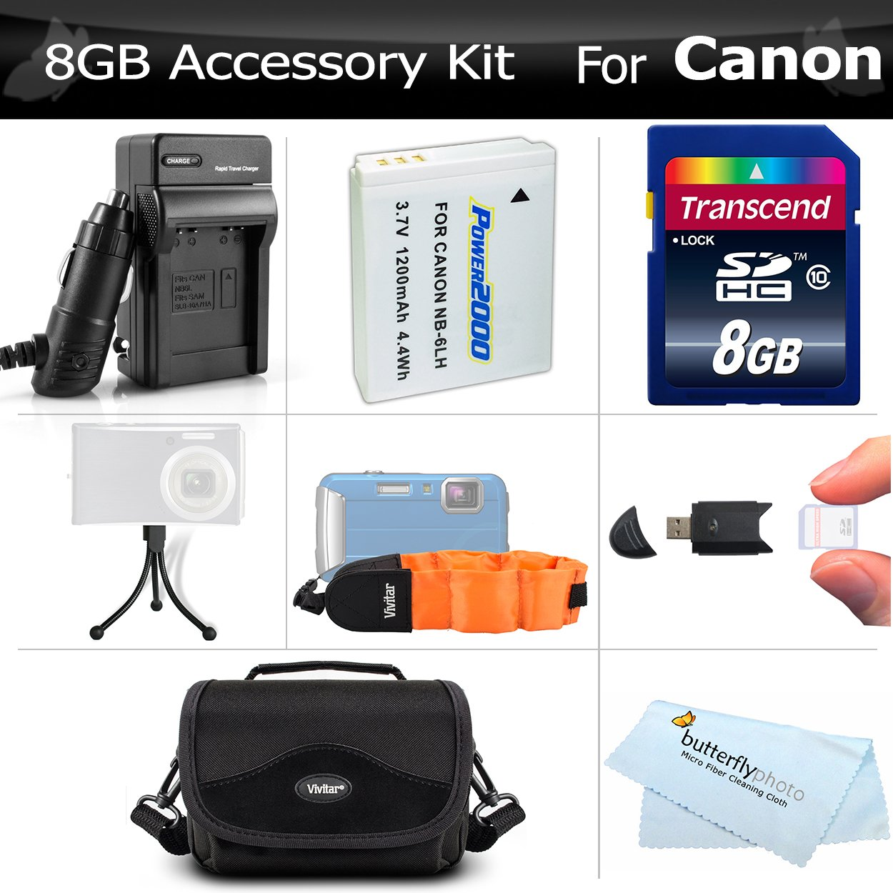 8GB Accessory Kit For Canon PowerShot D10 D20 D30 Waterproof Digital Camera Includes 8GB High Speed SD Memory Card + Extended (1200Mah) Replacement NB-6L Battery + Ac/ D/c Travel Charger + Floating Strap + Deluxe Case + USB 2.0 SD Reader + Much More