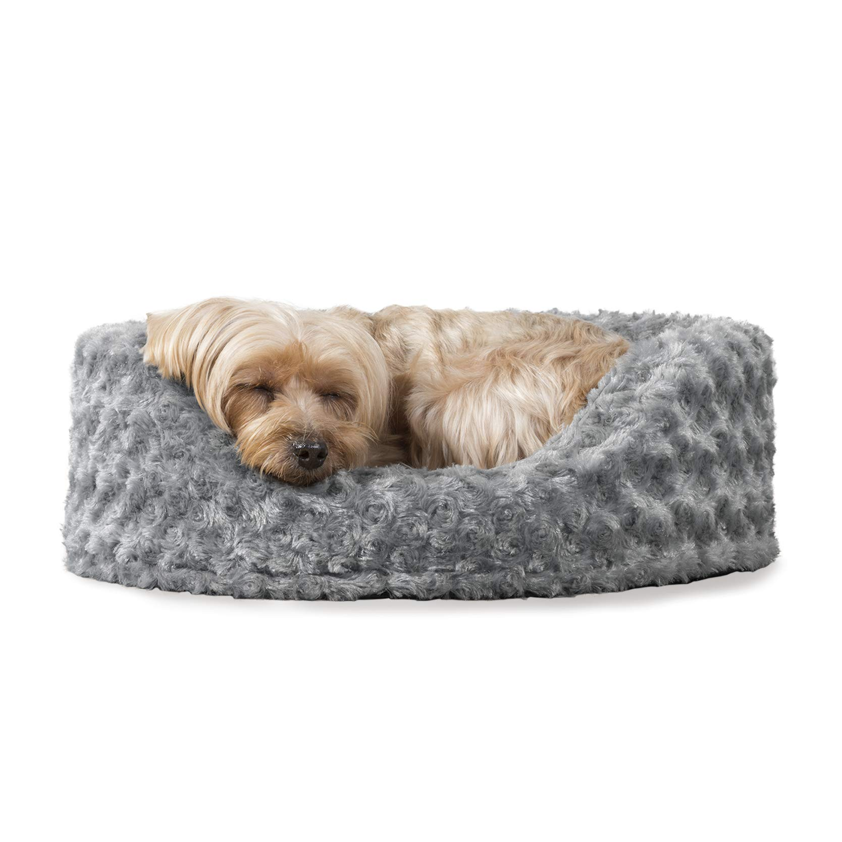 FurHaven Pet Dog Bed | Oval Ultra Plush Pet Bed for Dogs & Cats, Gray, Small