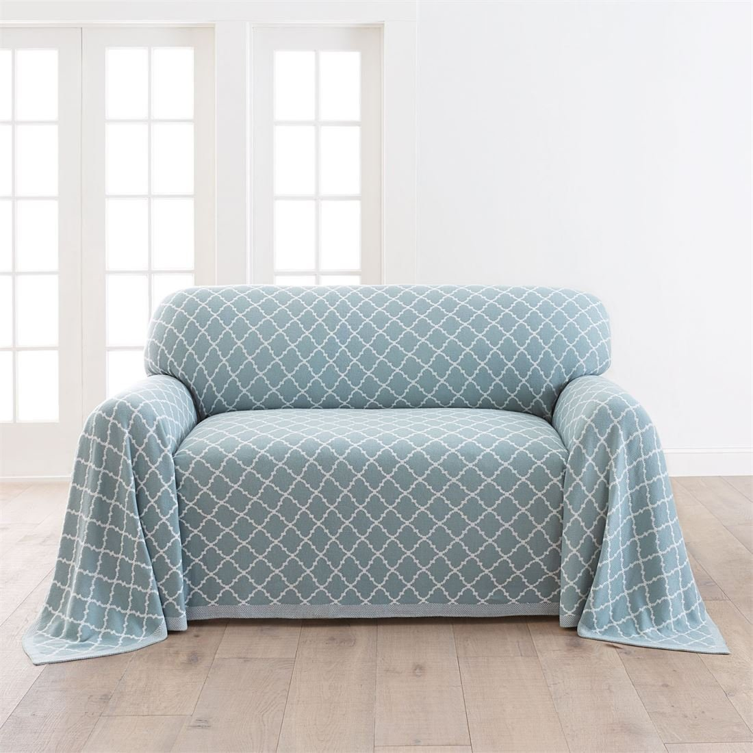 BrylaneHome Ogee Knitted Loveseat Cover (Spa,0)