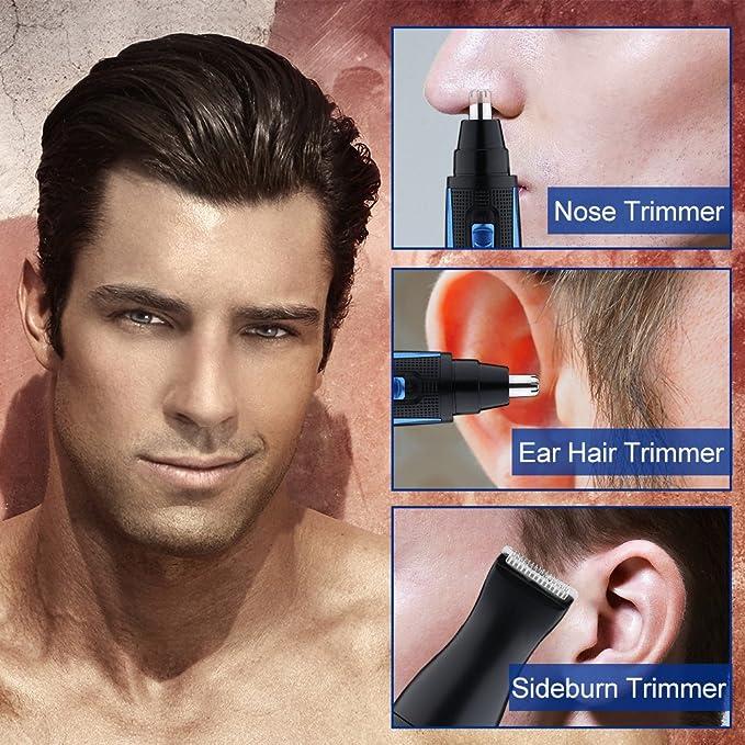 LUUKMONDE Cortador de pelo y patillas eléctrico de la nariz Clipper 420 Sistema de cuchillas doble borde giratorio de acero inoxidable para hombres con ...