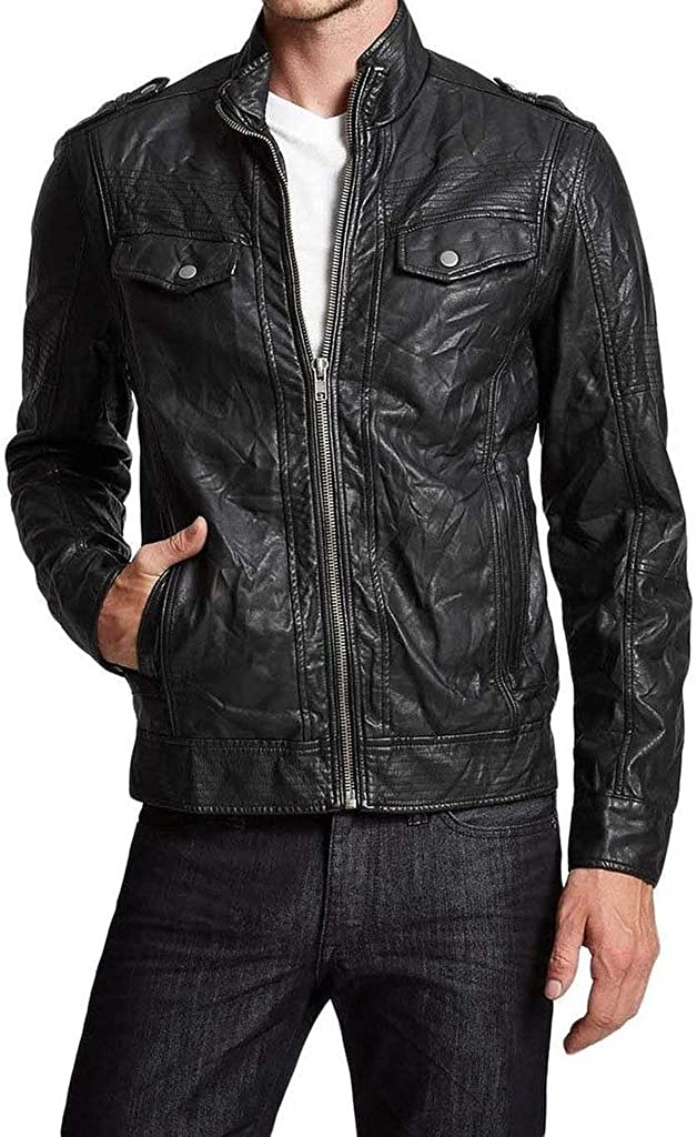 New Mens Leather Motorcycle Jacket Slim Fit Leather Coats LF548