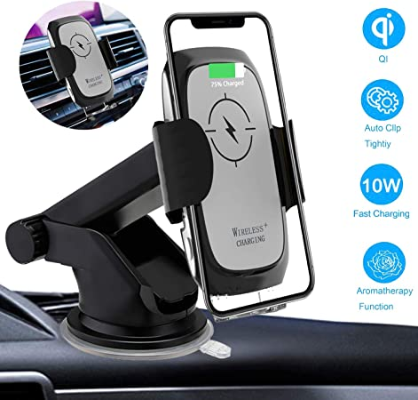Wireless Car Charger Mount Auto-Clamping, 10W 7.5W Qi Fast Charging Windshield Dashboard Air Vent Phone Holder Aromatherapy Box Compatible with iPhone Xs MAX XS XR X 8, Samsung S10 S10 S9 by Onlyer