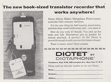 amazon com 1958 dictaphone dictet book sized transistor recorder