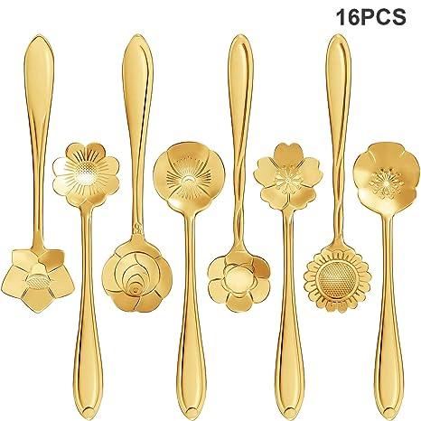 Stirring Spoon, ERCRYSTO Stainless Steel Tableware Creative Flower Coffee Spoon