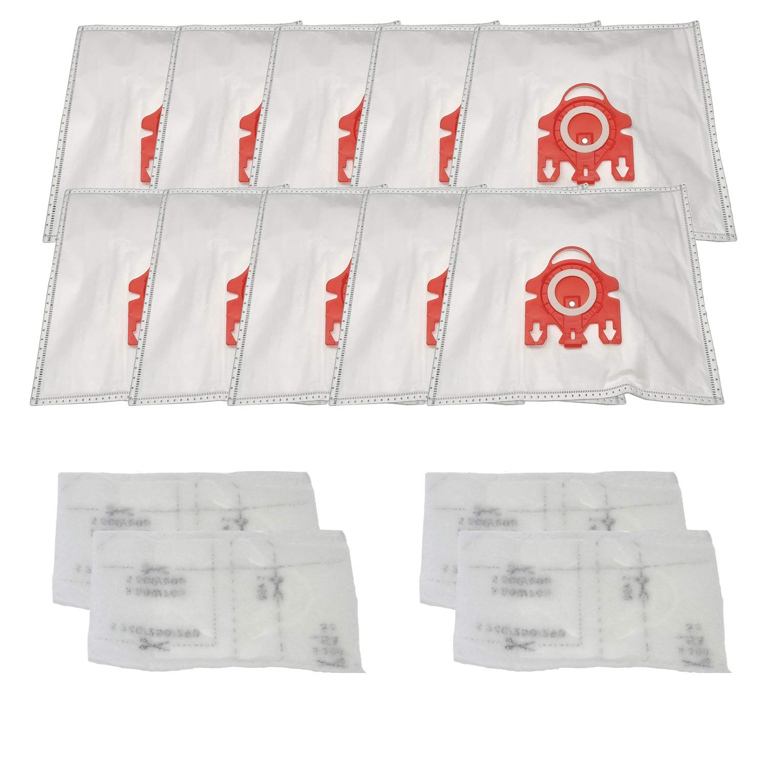 ZVac Miele FJM Vacuum Bags Replacement for Miele Hyclean Airclean 3D Miele Vacuum Cleaner Bags Replaces Parts: 7291640 Fits: S291 S300i-S399 S500-S578 S700-S758 S4000-S4999-10 Pack Bags & 4 Filters by ZVac