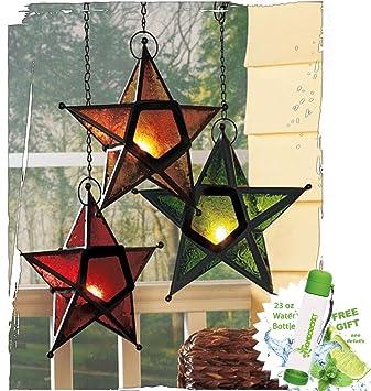 Regalo included- para vela de té portavelas conjunto de 3 estrella de cristal brillante ventana