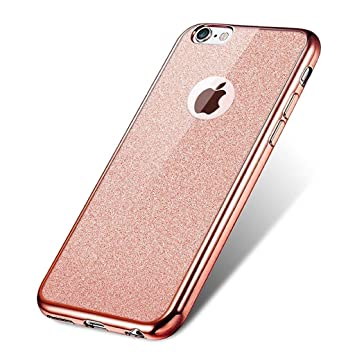 finest selection fc25e 4dc99 Visibee - Rose Gold iPhone 6 6s Case, Bling Glitter Detachable Ultra-Thin  Electroplating Technology Soft Gel TPU Silicone Case