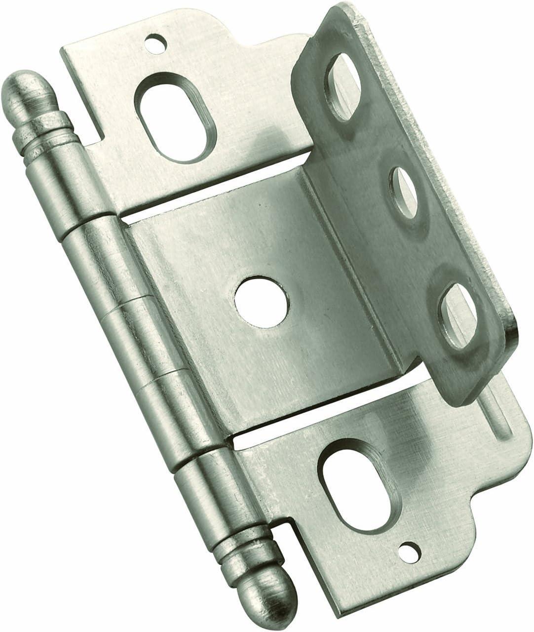 3//4in Door Thickness Full Wrap Amerock PK3175TMG10 12 Pack Full Inset Satin Nickel Minaret Tip Hinge