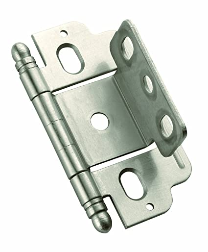 Amerock PK3180TBG10 Full Inset, Partial Wrap, Ball Tip Hinge with  3/4in(19mm) Door Thick. - Satin Nickel