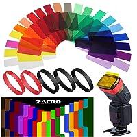 Zacro 20 Pcs Gel Filtros Cámaras Iluminación Flash de Corrección Termografía para Flash Speedlite,5 Anillos de Goma de…