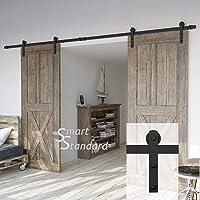 12ft Heavy Duty Double Door Sliding Barn Door Hardware Kit  Smoothly And  Quietly  Simple