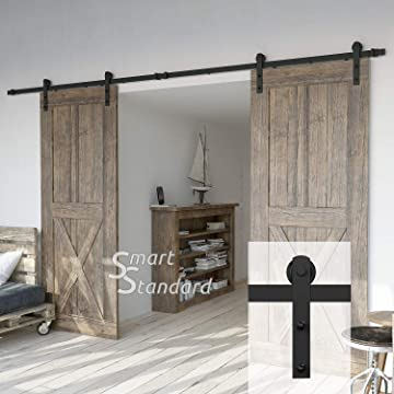 12ft Double Door Sliding Barn Door Hardware Kit  Smoothly And Quietly   Simple And Easy