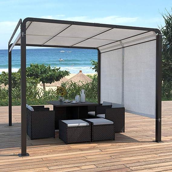 JFB Pergola - Tela de poliéster (3 x 3 m), color negro y blanco: Amazon.es: Jardín