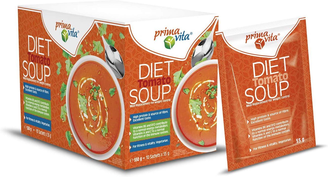 Primavita - Sopa de tomate sustitutiva de comidas para dietas adelgazantes, 55 g (10 sobres de ración)